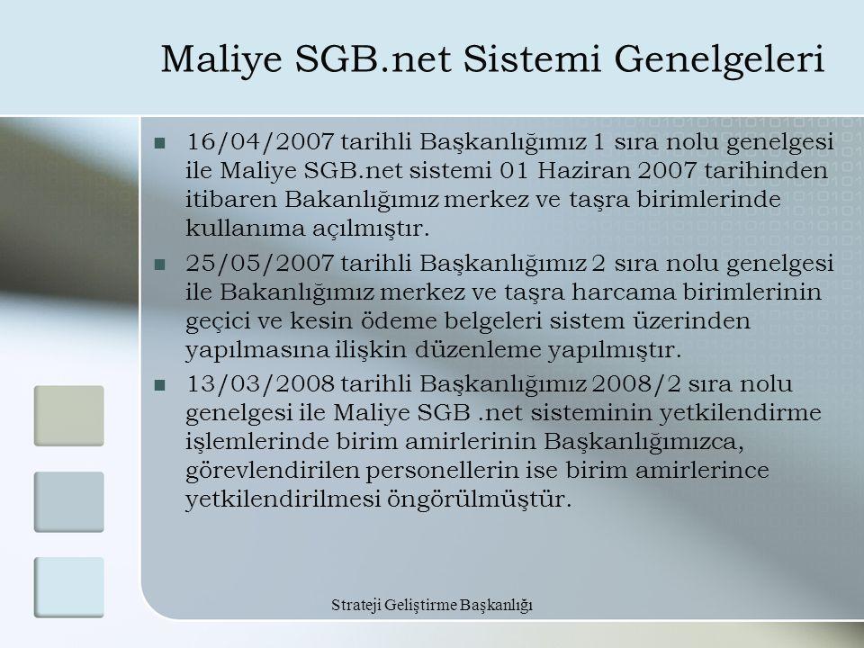 Strateji Geliştirme Başkanlığı Maliye SGB.net Sistemi Genelgeleri 16/04/2007 tarihli Başkanlığımız 1 sıra nolu genelgesi ile Maliye SGB.net sistemi 01