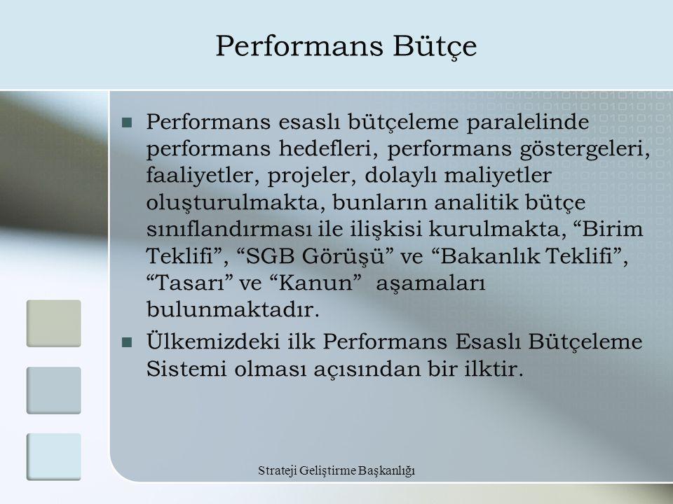 Strateji Geliştirme Başkanlığı Performans Bütçe Performans esaslı bütçeleme paralelinde performans hedefleri, performans göstergeleri, faaliyetler, pr