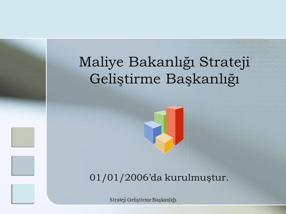 Strateji Geliştirme Başkanlığı Maliye Bakanlığı Strateji Geliştirme Başkanlığı 01/01/2006'da kurulmuştur.