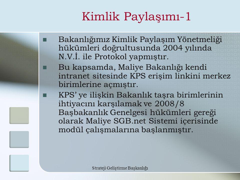 Strateji Geliştirme Başkanlığı Kimlik Paylaşımı-1 Bakanlığımız Kimlik Paylaşım Yönetmeliği hükümleri doğrultusunda 2004 yılında N.V.İ. ile Protokol ya