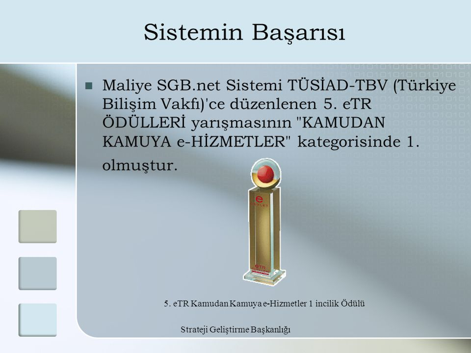 Strateji Geliştirme Başkanlığı Sistemin Başarısı Maliye SGB.net Sistemi TÜSİAD-TBV (Türkiye Bilişim Vakfı)'ce düzenlenen 5. eTR ÖDÜLLERİ yarışmasının