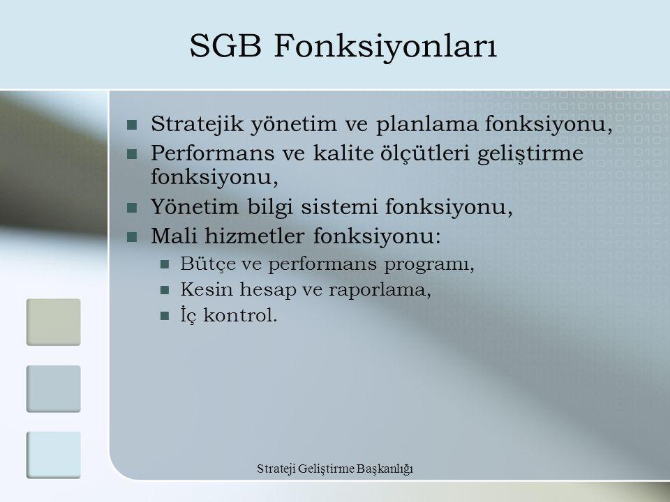 Strateji Geliştirme Başkanlığı SGB Fonksiyonları Stratejik yönetim ve planlama fonksiyonu, Performans ve kalite ölçütleri geliştirme fonksiyonu, Yönet