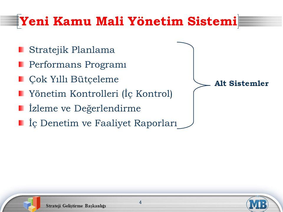Strateji Geliştirme Başkanlığı 44 Stratejik Planlama Performans Programı Çok Yıllı Bütçeleme Yönetim Kontrolleri (İç Kontrol) İzleme ve Değerlendirme İç Denetim ve Faaliyet Raporları Yeni Kamu Mali Yönetim Sistemi Alt Sistemler