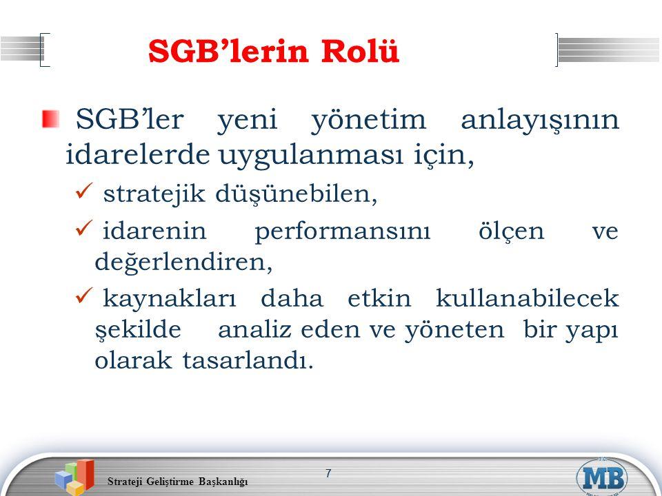 Strateji Geliştirme Başkanlığı 77 SGB'lerin Rolü SGB'ler yeni yönetim anlayışının idarelerde uygulanması için, stratejik düşünebilen, idarenin performansını ölçen ve değerlendiren, kaynakları daha etkin kullanabilecek şekilde analiz eden ve yöneten bir yapı olarak tasarlandı.