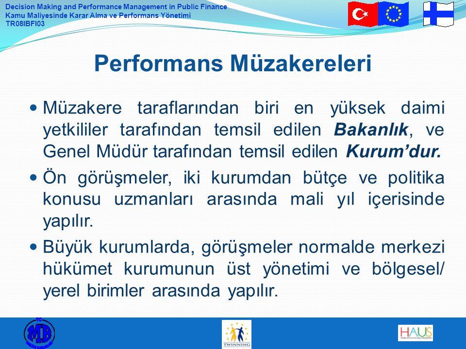 Decision Making and Performance Management in Public Finance Kamu Maliyesinde Karar Alma ve Performans Yönetimi TR08IBFI03 Müzakere taraflarından biri en yüksek daimi yetkililer tarafından temsil edilen Bakanlık, ve Genel Müdür tarafından temsil edilen Kurum'dur.