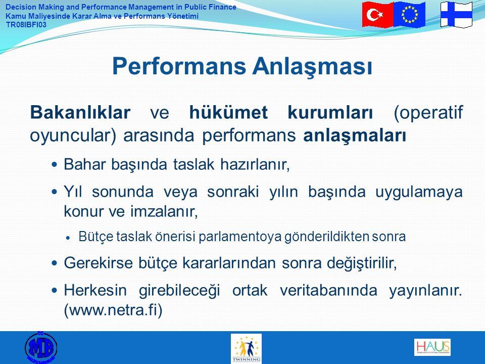 Decision Making and Performance Management in Public Finance Kamu Maliyesinde Karar Alma ve Performans Yönetimi TR08IBFI03 Bakanlıklar ve hükümet kurumları (operatif oyuncular) arasında performans anlaşmaları Bahar başında taslak hazırlanır, Yıl sonunda veya sonraki yılın başında uygulamaya konur ve imzalanır, Bütçe taslak önerisi parlamentoya gönderildikten sonra Gerekirse bütçe kararlarından sonra değiştirilir, Herkesin girebileceği ortak veritabanında yayınlanır.
