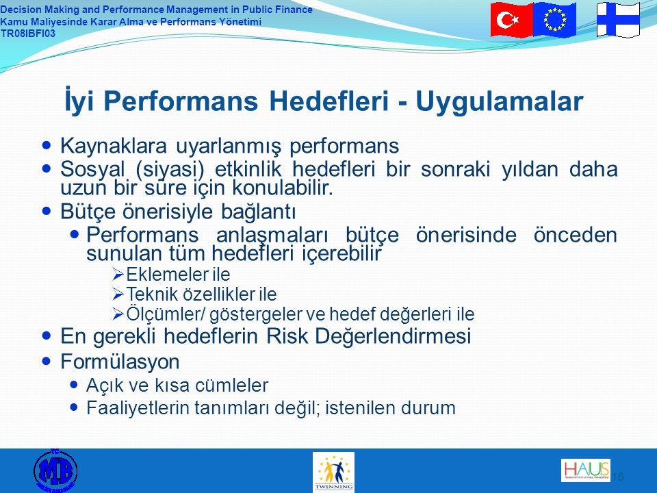 Decision Making and Performance Management in Public Finance Kamu Maliyesinde Karar Alma ve Performans Yönetimi TR08IBFI03 16 İyi Performans Hedefleri - Uygulamalar Kaynaklara uyarlanmış performans Sosyal (siyasi) etkinlik hedefleri bir sonraki yıldan daha uzun bir süre için konulabilir.