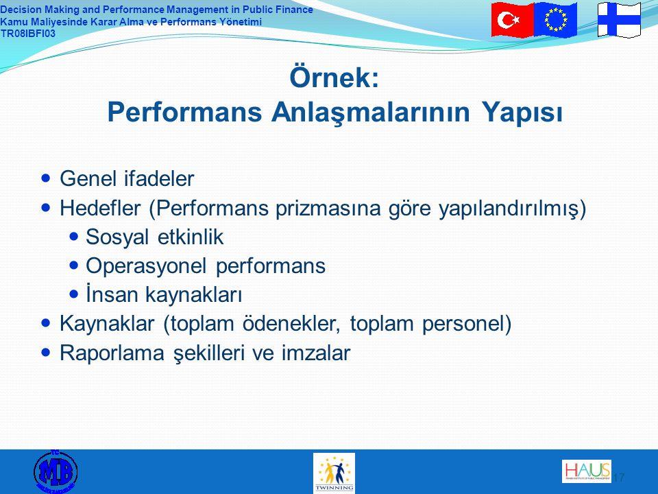 Decision Making and Performance Management in Public Finance Kamu Maliyesinde Karar Alma ve Performans Yönetimi TR08IBFI03 17 Örnek: Performans Anlaşmalarının Yapısı Genel ifadeler Hedefler (Performans prizmasına göre yapılandırılmış) Sosyal etkinlik Operasyonel performans İnsan kaynakları Kaynaklar (toplam ödenekler, toplam personel) Raporlama şekilleri ve imzalar