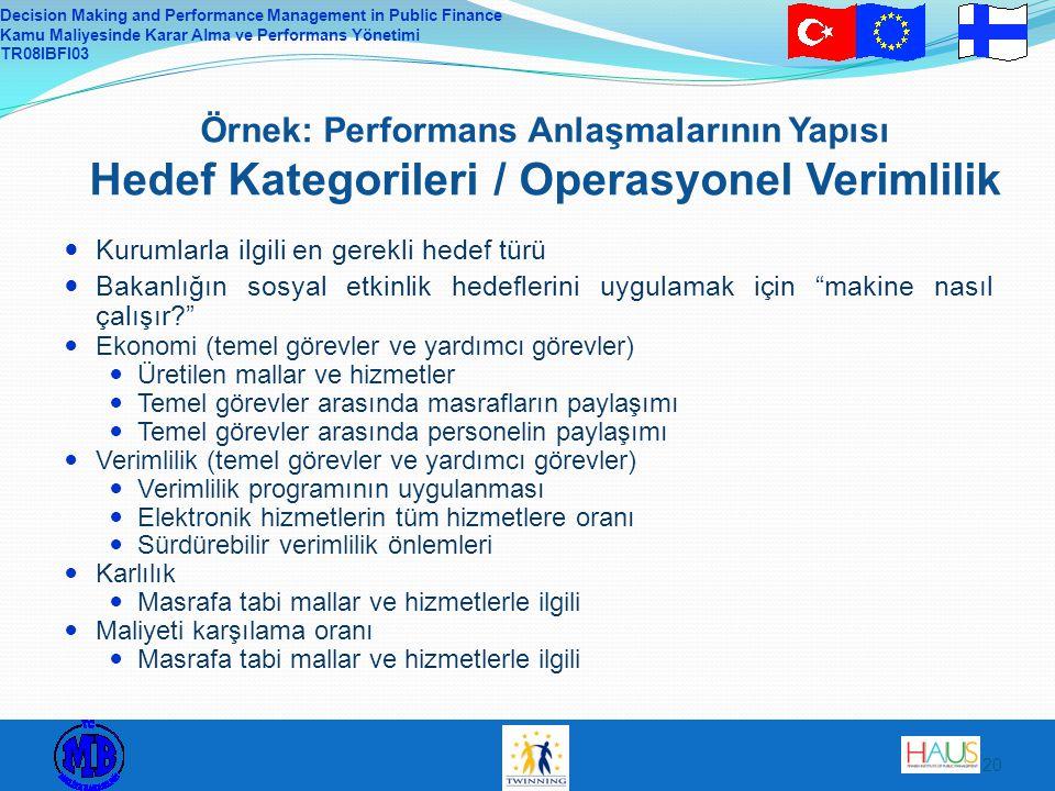 Decision Making and Performance Management in Public Finance Kamu Maliyesinde Karar Alma ve Performans Yönetimi TR08IBFI03 20 Örnek: Performans Anlaşmalarının Yapısı Hedef Kategorileri / Operasyonel Verimlilik Kurumlarla ilgili en gerekli hedef türü Bakanlığın sosyal etkinlik hedeflerini uygulamak için makine nasıl çalışır? Ekonomi (temel görevler ve yardımcı görevler) Üretilen mallar ve hizmetler Temel görevler arasında masrafların paylaşımı Temel görevler arasında personelin paylaşımı Verimlilik (temel görevler ve yardımcı görevler) Verimlilik programının uygulanması Elektronik hizmetlerin tüm hizmetlere oranı Sürdürebilir verimlilik önlemleri Karlılık Masrafa tabi mallar ve hizmetlerle ilgili Maliyeti karşılama oranı Masrafa tabi mallar ve hizmetlerle ilgili