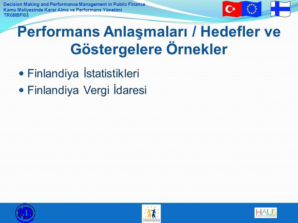 Decision Making and Performance Management in Public Finance Kamu Maliyesinde Karar Alma ve Performans Yönetimi TR08IBFI03 Finlandiya İstatistikleri Finlandiya Vergi İdaresi Performans Anlaşmaları / Hedefler ve Göstergelere Örnekler