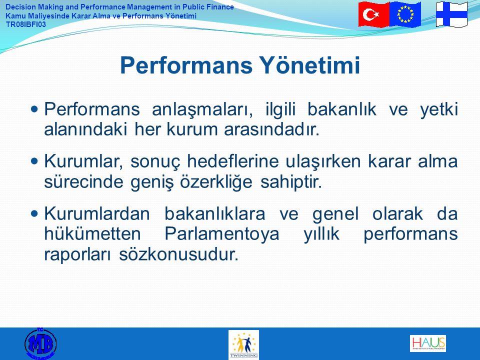 Decision Making and Performance Management in Public Finance Kamu Maliyesinde Karar Alma ve Performans Yönetimi TR08IBFI03 Siyasi sorumlu oyuncular olarak bakanlıklar, kurumlar için toplumsal sonuç hedeflerini ve bütçe çerçevelerini belirler – sonuç seviyesinde stratejik yürütme Kurum, operasyonel sonuç hedefleri konusunda ilgili bakanlıkla anlaşır – çıktı seviyesi Siyasetçiler ve önemli yöneticiler için rol tanımlarının açık olması isteği Kamu Hizmeti Sunumunun Yönetimsel Düzeni