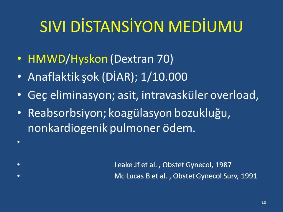 SIVI DİSTANSİYON MEDİUMU HMWD/Hyskon (Dextran 70) Anaflaktik şok (DİAR); 1/10.000 Geç eliminasyon; asit, intravasküler overload, Reabsorbsiyon; koagülasyon bozukluğu, nonkardiogenik pulmoner ödem.