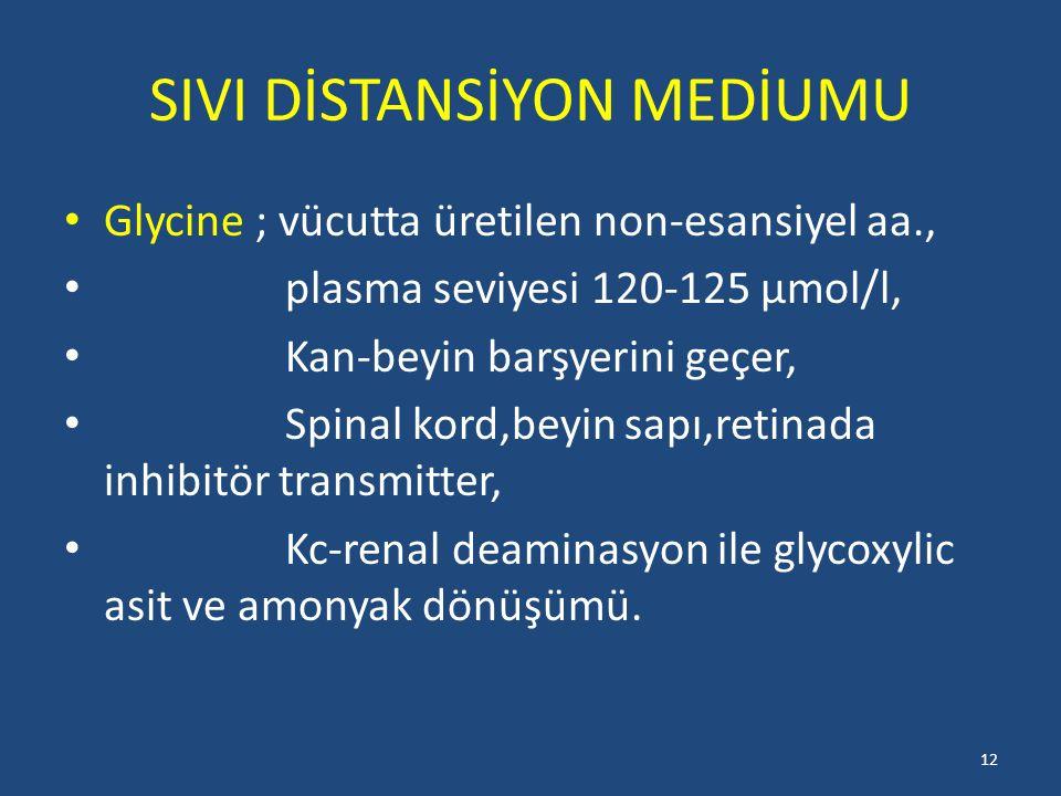 SIVI DİSTANSİYON MEDİUMU Glycine ; vücutta üretilen non-esansiyel aa., plasma seviyesi 120-125 µmol/l, Kan-beyin barşyerini geçer, Spinal kord,beyin sapı,retinada inhibitör transmitter, Kc-renal deaminasyon ile glycoxylic asit ve amonyak dönüşümü.