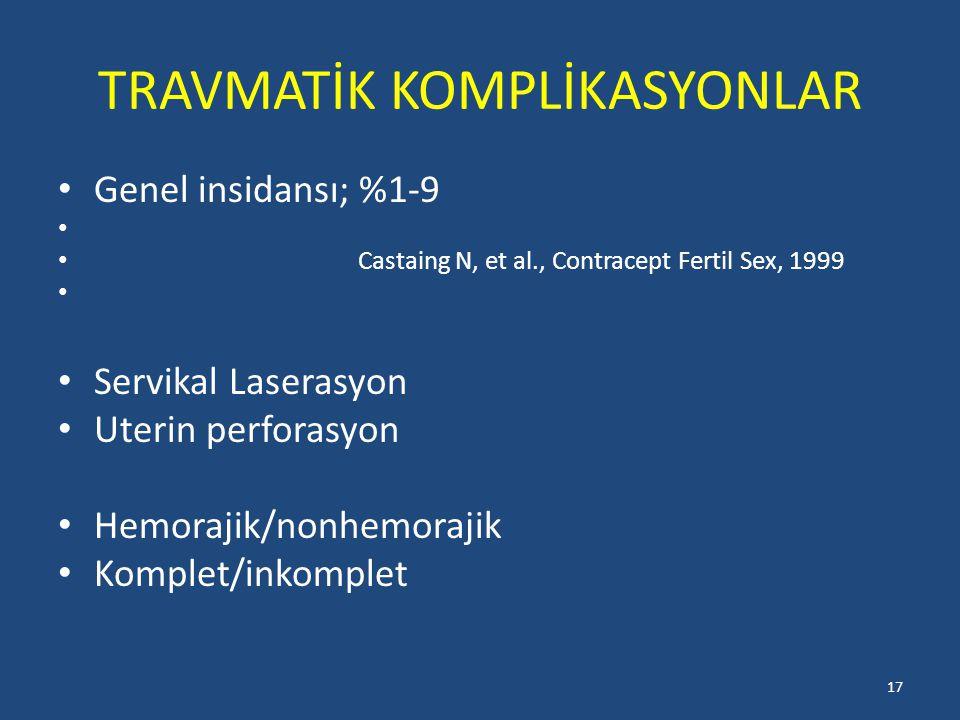 TRAVMATİK KOMPLİKASYONLAR Genel insidansı; %1-9 Castaing N, et al., Contracept Fertil Sex, 1999 Servikal Laserasyon Uterin perforasyon Hemorajik/nonhemorajik Komplet/inkomplet 17