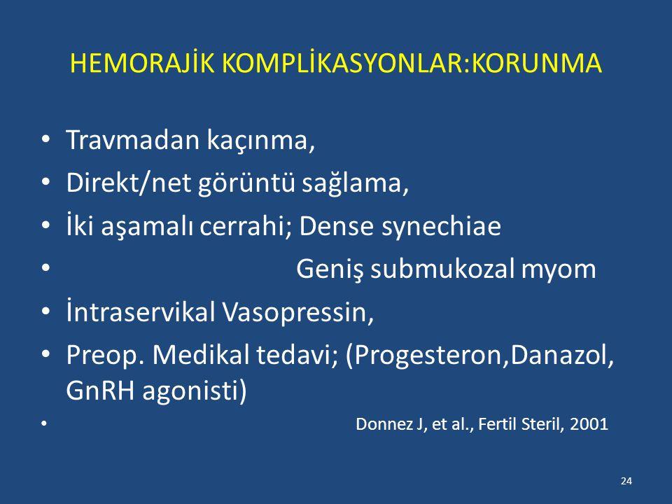 HEMORAJİK KOMPLİKASYONLAR:KORUNMA Travmadan kaçınma, Direkt/net görüntü sağlama, İki aşamalı cerrahi; Dense synechiae Geniş submukozal myom İntraservikal Vasopressin, Preop.