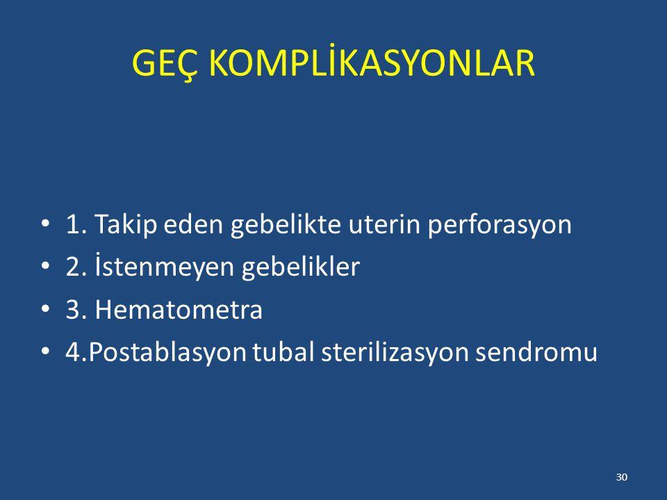 GEÇ KOMPLİKASYONLAR 1. Takip eden gebelikte uterin perforasyon 2. İstenmeyen gebelikler 3. Hematometra 4.Postablasyon tubal sterilizasyon sendromu 30