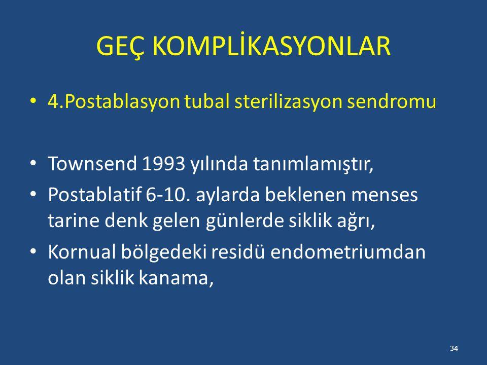 GEÇ KOMPLİKASYONLAR 4.Postablasyon tubal sterilizasyon sendromu Townsend 1993 yılında tanımlamıştır, Postablatif 6-10.