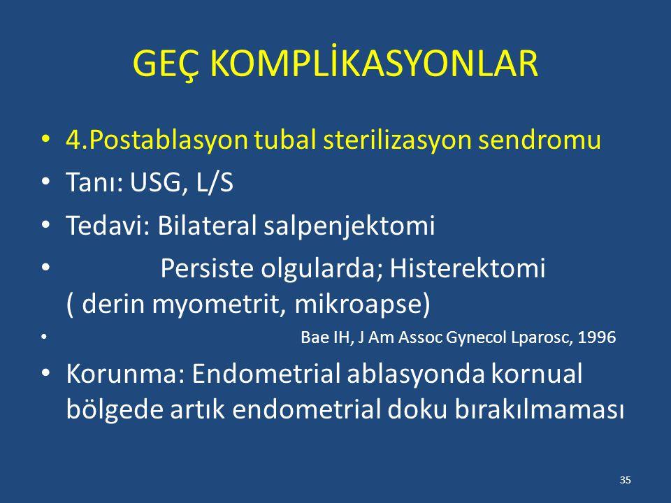 GEÇ KOMPLİKASYONLAR 4.Postablasyon tubal sterilizasyon sendromu Tanı: USG, L/S Tedavi: Bilateral salpenjektomi Persiste olgularda; Histerektomi ( deri
