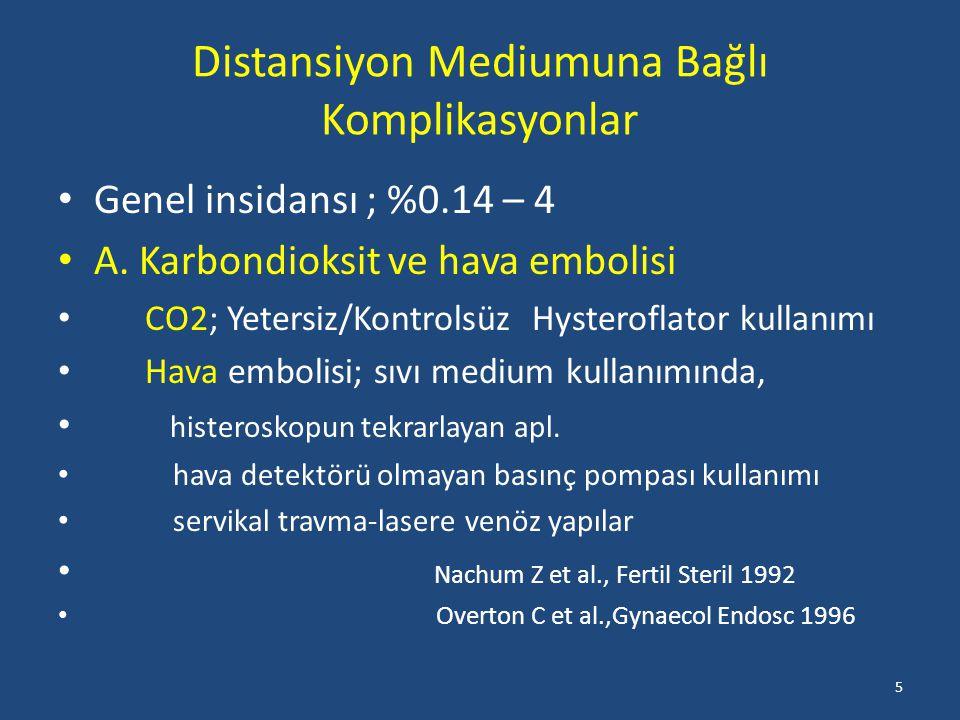 Distansiyon Mediumuna Bağlı Komplikasyonlar Genel insidansı ; %0.14 – 4 A.