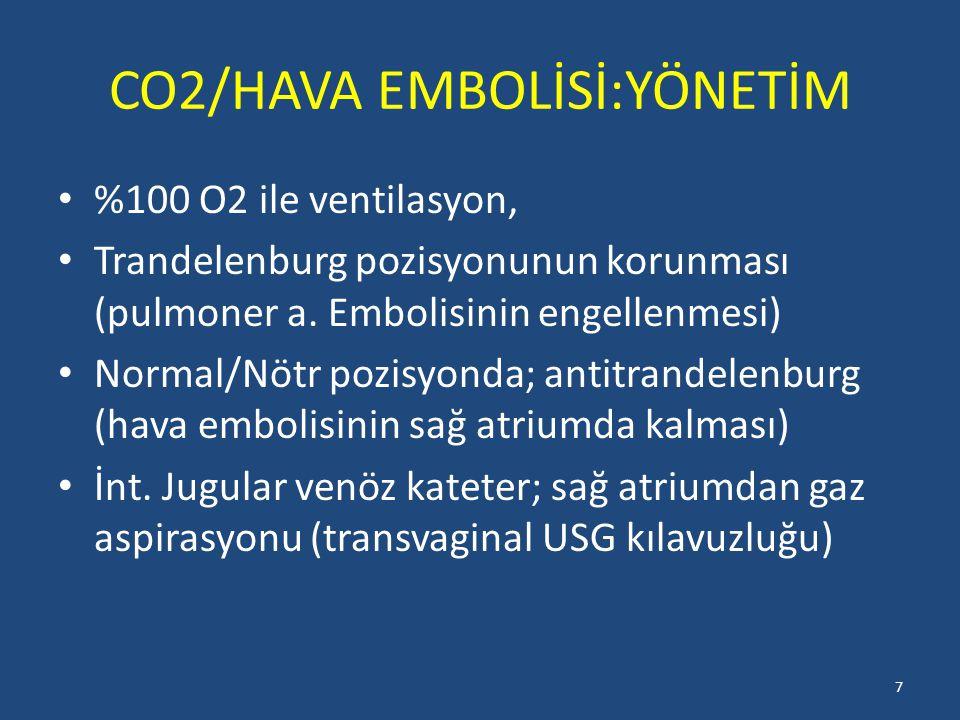 CO2/HAVA EMBOLİSİ:YÖNETİM %100 O2 ile ventilasyon, Trandelenburg pozisyonunun korunması (pulmoner a. Embolisinin engellenmesi) Normal/Nötr pozisyonda;
