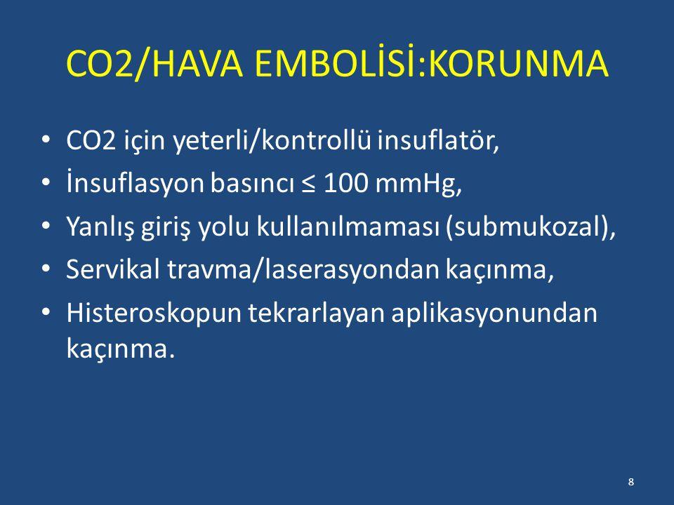 CO2/HAVA EMBOLİSİ:KORUNMA CO2 için yeterli/kontrollü insuflatör, İnsuflasyon basıncı ≤ 100 mmHg, Yanlış giriş yolu kullanılmaması (submukozal), Servikal travma/laserasyondan kaçınma, Histeroskopun tekrarlayan aplikasyonundan kaçınma.