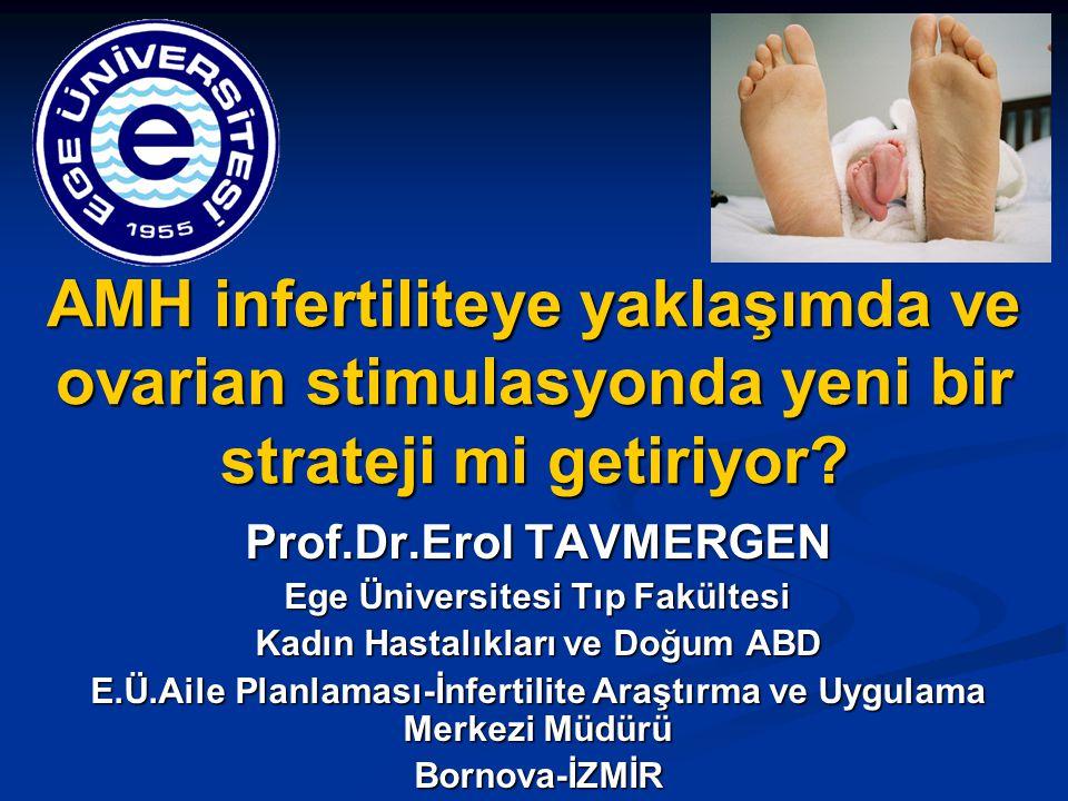 AMH infertiliteye yaklaşımda ve ovarian stimulasyonda yeni bir strateji mi getiriyor? Prof.Dr.Erol TAVMERGEN Ege Üniversitesi Tıp Fakültesi Kadın Hast