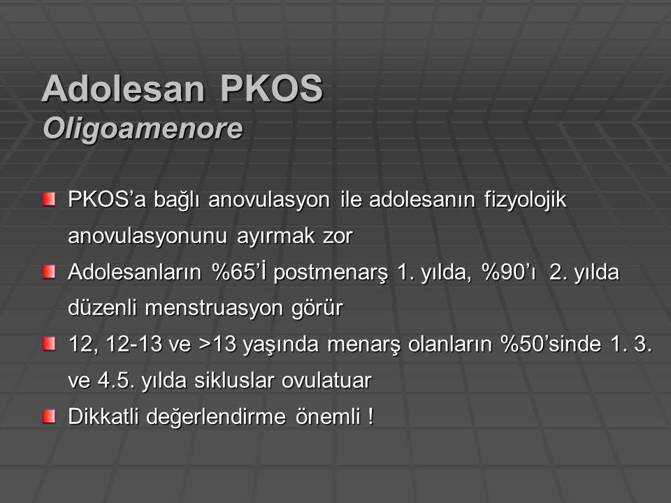 PKOS'a bağlı anovulasyon ile adolesanın fizyolojik anovulasyonunu ayırmak zor Adolesanların %65'İ postmenarş 1. yılda, %90'ı 2. yılda düzenli menstrua