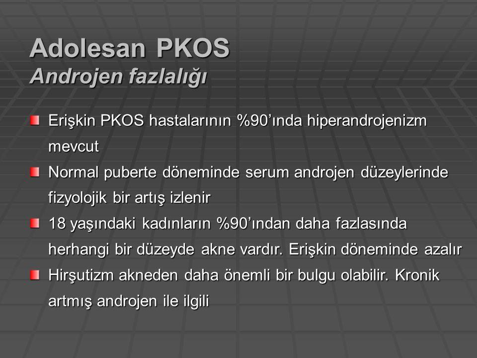 Erişkin PKOS hastalarının %90'ında hiperandrojenizm mevcut Normal puberte döneminde serum androjen düzeylerinde fizyolojik bir artış izlenir 18 yaşınd