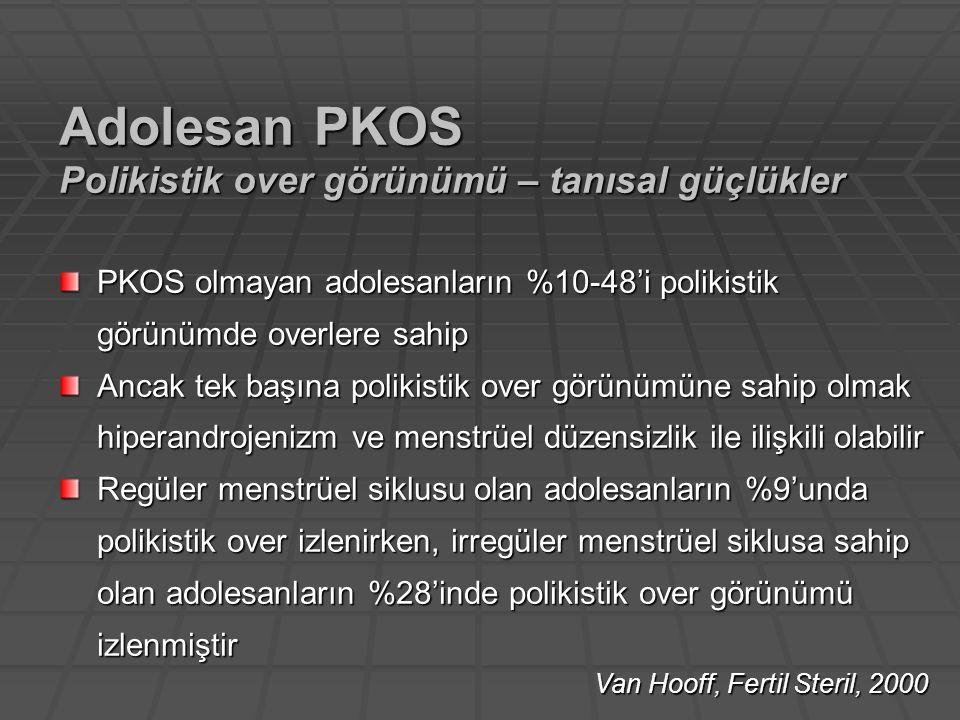 PKOS olmayan adolesanların %10-48'i polikistik görünümde overlere sahip Ancak tek başına polikistik over görünümüne sahip olmak hiperandrojenizm ve me