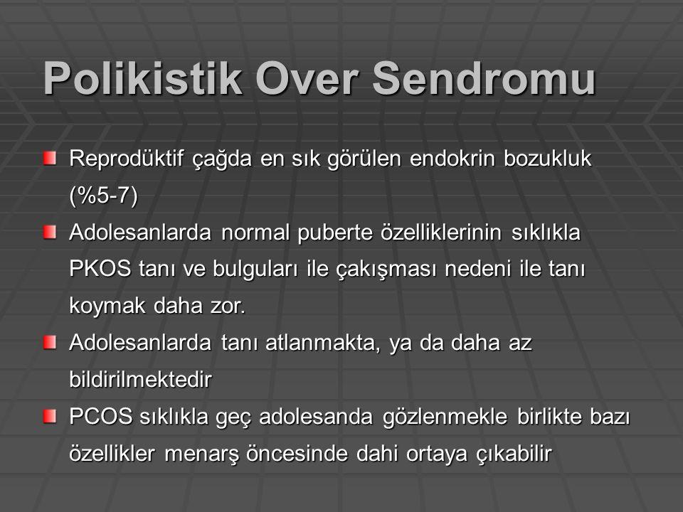 Hipotalamopitüiter aks maturasyonu Pulsatil GnRH salgılanması - FSH, LH - FSH, LH Androstenedion (overler)  östrojen - Meme gelişimi, kemik gelişimi - Meme gelişimi, kemik gelişimi DHEA, DHEAS adrenal - Pubik-aksiller kıllanma, akne - Pubik-aksiller kıllanma, akne Normal pubertede hormonal değişiklikler
