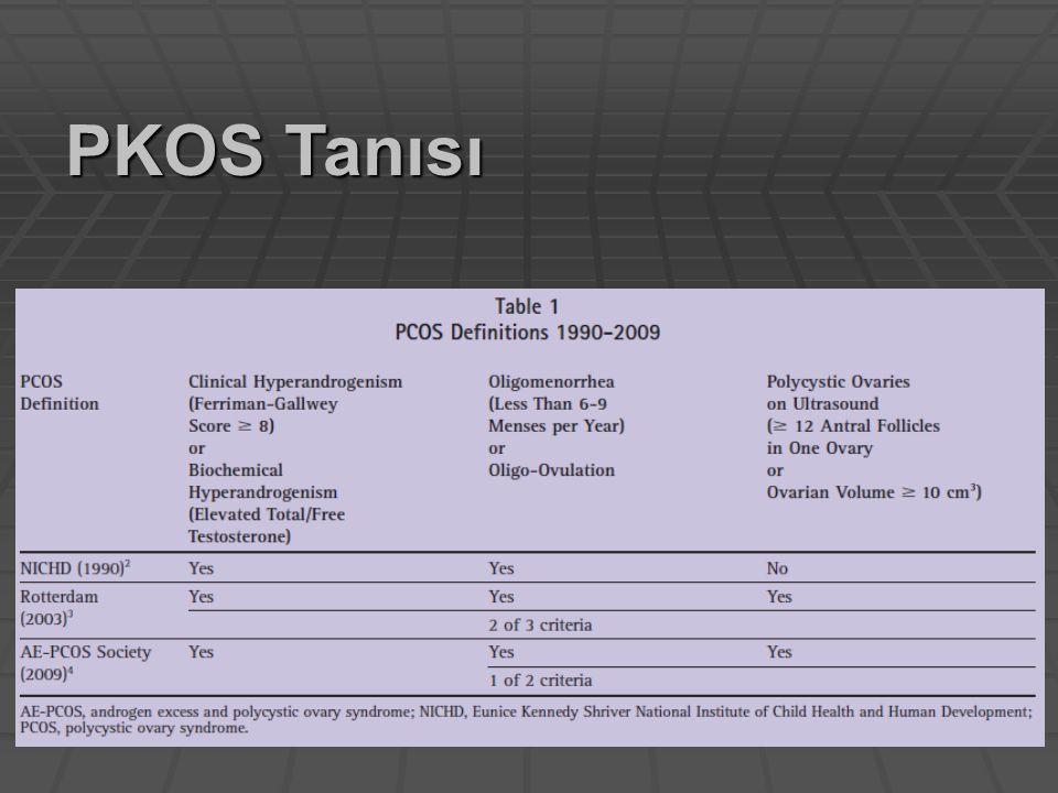 Roterdam kriterleri Bütün kriterler karşılanmalı Sadece 2 kriteri karşılayan adolesanlarda belirtiler takip edilmeli PKOS / Tanısal öneriler Carmina, J Obstet Gynecol, 2010 3/3 kriter