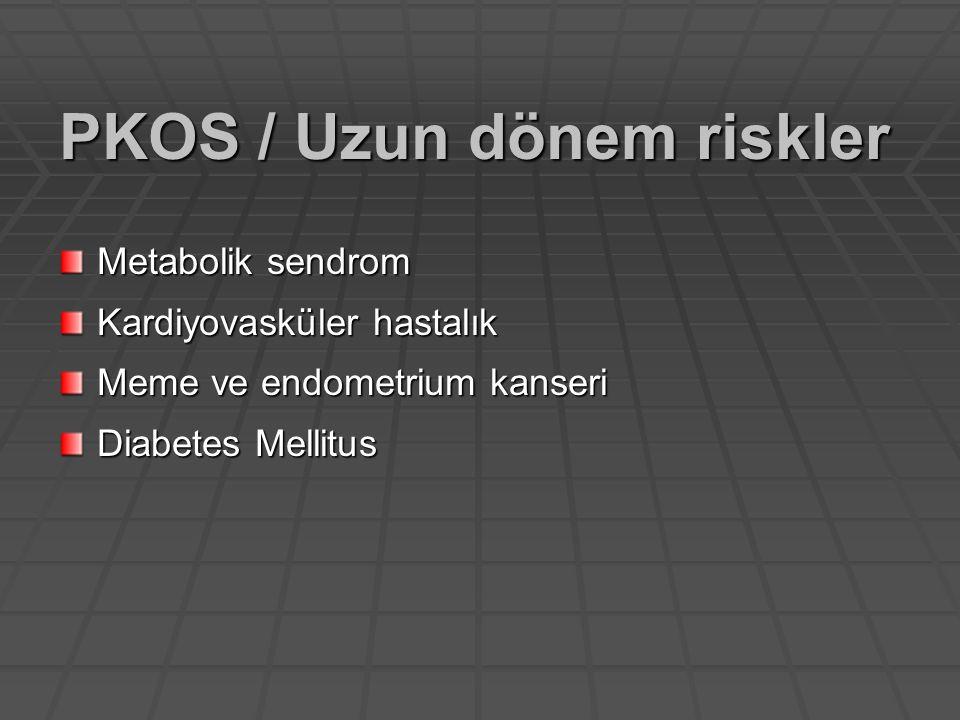 11 zayıf-obez PKOS hastasında 10.5 ay süre ile 3x500- 850 mg/gün + düşük karbonhidrat, yüksek protein diyeti ile regüler menstreül siklus sağlanmış 18 anovulatuar hiperandrojenik PKOS'lu hastada 4 aylık 1275 mg metfromin tedavisi ; -%78 ovulasyon -Hirşutizm skoru, açlık serum insülini, androjen  -SHBG  Adolesan PKOS Metformin Ibanez, JCEM, 2001 Glueck, J Adoles Health, 2001