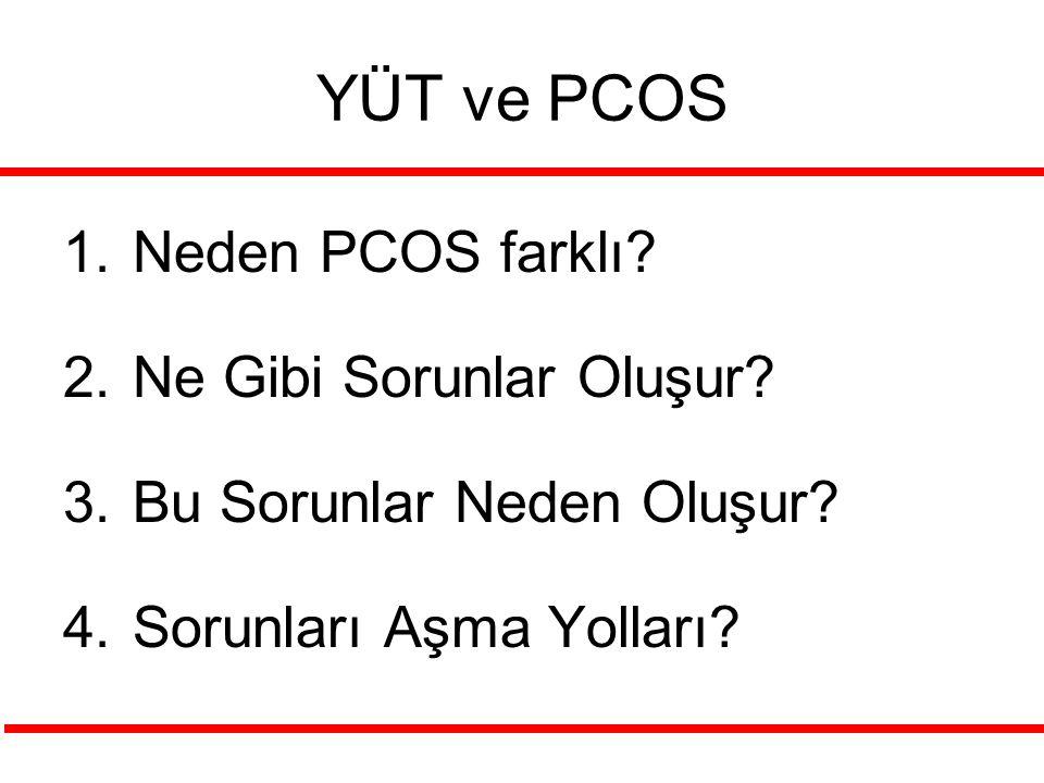YÜT ve PCOS 1.Neden PCOS farklı? 2.Ne Gibi Sorunlar Oluşur? 3.Bu Sorunlar Neden Oluşur? 4.Sorunları Aşma Yolları?