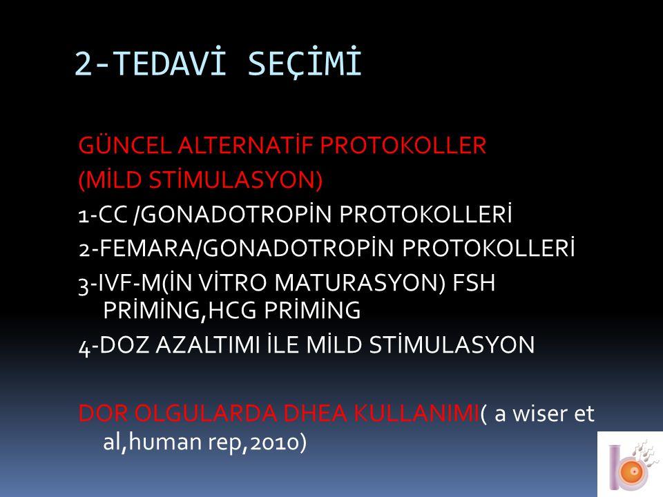2-TEDAVİ SEÇİMİ GÜNCEL ALTERNATİF PROTOKOLLER (MİLD STİMULASYON) 1-CC /GONADOTROPİN PROTOKOLLERİ 2-FEMARA/GONADOTROPİN PROTOKOLLERİ 3-IVF-M(İN VİTRO M