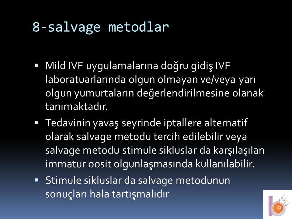 8-salvage metodlar  Mild IVF uygulamalarına doğru gidiş IVF laboratuarlarında olgun olmayan ve/veya yarı olgun yumurtaların değerlendirilmesine olana