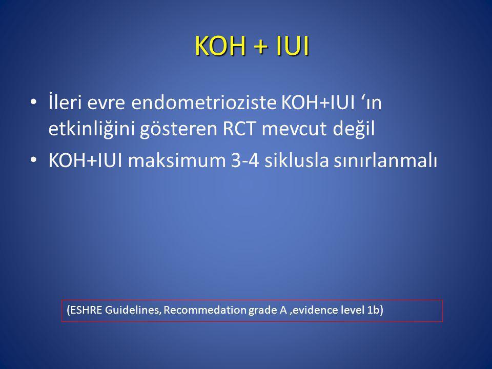 KOH + IUI İleri evre endometrioziste KOH+IUI 'ın etkinliğini gösteren RCT mevcut değil KOH+IUI maksimum 3-4 siklusla sınırlanmalı (ESHRE Guidelines, R