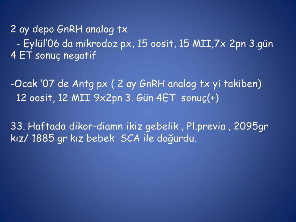 2 ay depo GnRH analog tx - Eylül'06 da mikrodoz px, 15 oosit, 15 MII,7x 2pn 3.gün 4 ET sonuç negatif -Ocak '07 de Antg px ( 2 ay GnRH analog tx yi tak