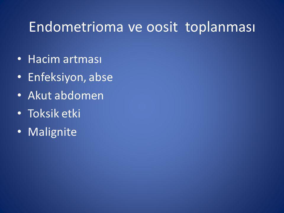 Endometrioma ve oosit toplanması Hacim artması Enfeksiyon, abse Akut abdomen Toksik etki Malignite