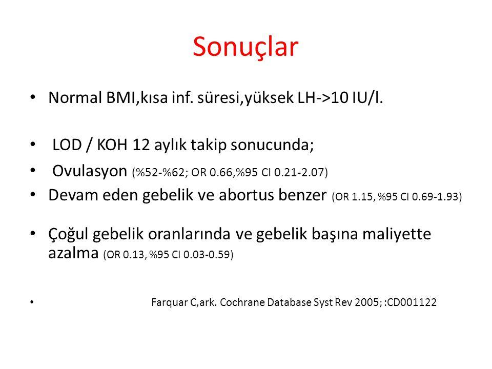 Sonuçlar Normal BMI,kısa inf.süresi,yüksek LH->10 IU/l.
