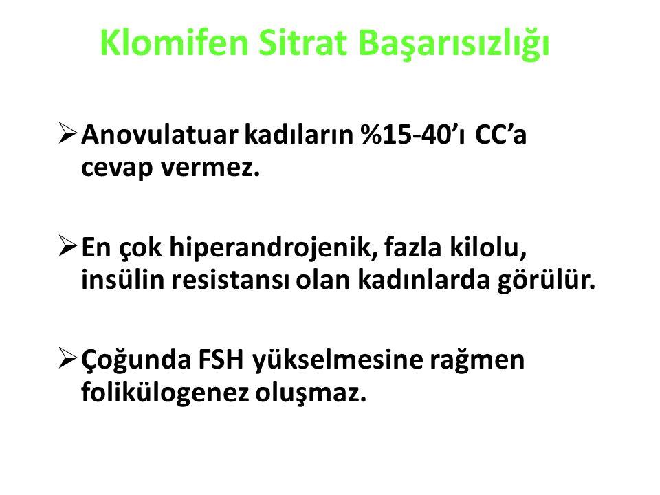 Klomifen Sitrat Başarısızlığı  Anovulatuar kadıların %15-40'ı CC'a cevap vermez.
