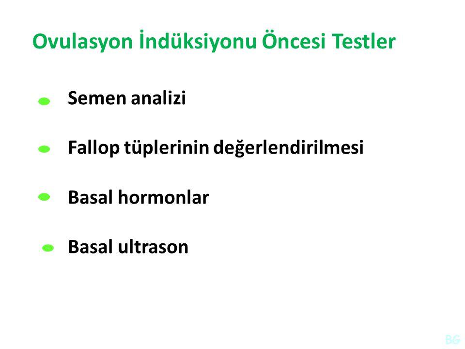 Ovulasyon İndüksiyonu Öncesi Testler Semen analizi Fallop tüplerinin değerlendirilmesi Basal hormonlar Basal ultrason BG