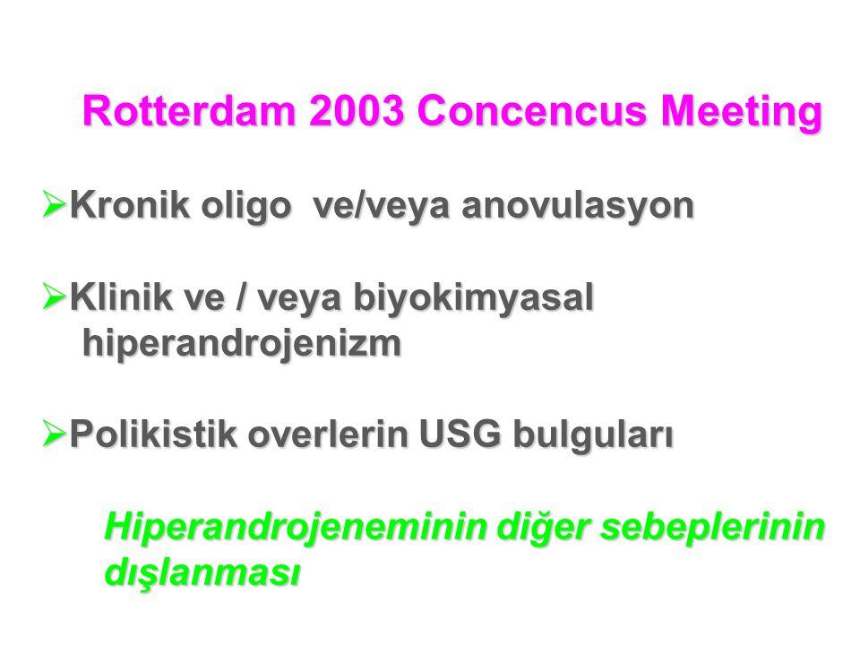 Rotterdam 2003 Concencus Meeting Rotterdam 2003 Concencus Meeting  Kronik oligo ve/veya anovulasyon  Klinik ve / veya biyokimyasal hiperandrojenizm hiperandrojenizm  Polikistik overlerin USG bulguları Hiperandrojeneminin diğer sebeplerinin Hiperandrojeneminin diğer sebeplerinin dışlanması dışlanması