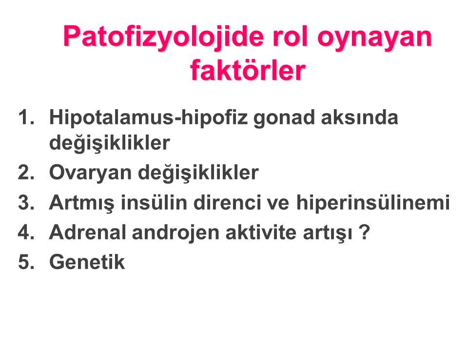 Patofizyolojide rol oynayan faktörler 1.Hipotalamus-hipofiz gonad aksında değişiklikler 2.Ovaryan değişiklikler 3.Artmış insülin direnci ve hiperinsülinemi 4.Adrenal androjen aktivite artışı .
