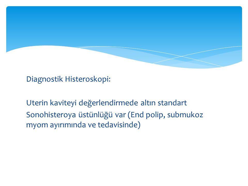 Diagnostik Histeroskopi: Uterin kaviteyi değerlendirmede altın standart Sonohisteroya üstünlüğü var (End polip, submukoz myom ayırımında ve tedavisinde)