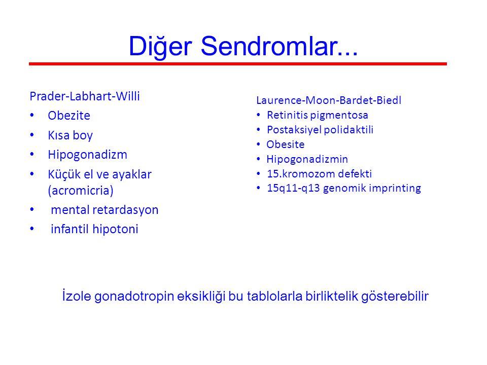 Diğer Sendromlar... Prader-Labhart-Willi Obezite Kısa boy Hipogonadizm Küçük el ve ayaklar (acromicria) mental retardasyon infantil hipotoni Laurence-