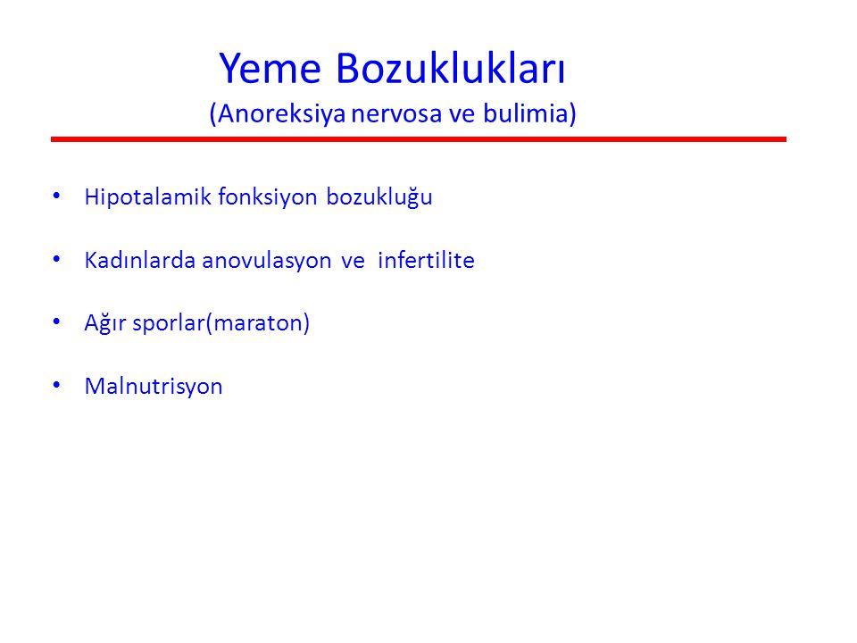 Yeme Bozuklukları (Anoreksiya nervosa ve bulimia) Hipotalamik fonksiyon bozukluğu Kadınlarda anovulasyon ve infertilite Ağır sporlar(maraton) Malnutri