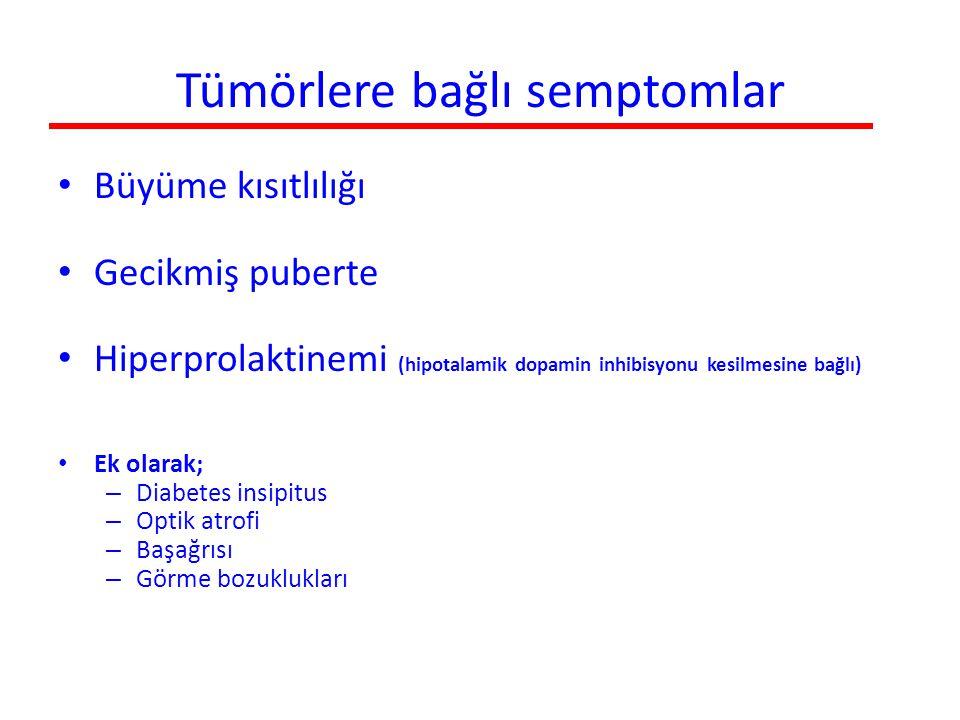 Tümörlere bağlı semptomlar Büyüme kısıtlılığı Gecikmiş puberte Hiperprolaktinemi (hipotalamik dopamin inhibisyonu kesilmesine bağlı) Ek olarak; – Diab