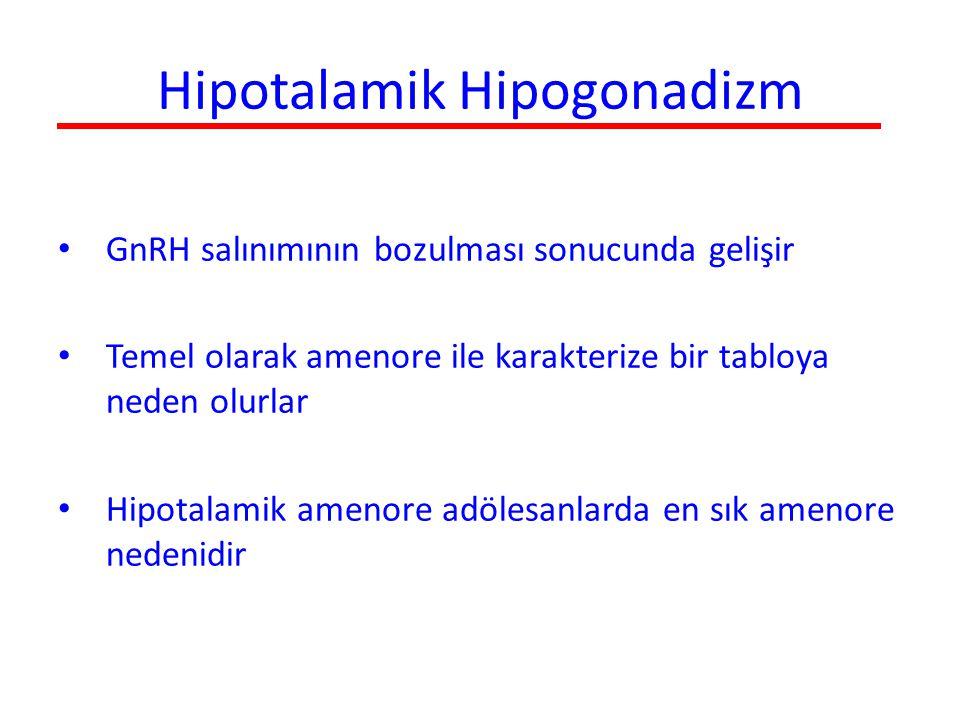 Hipofizer nedenler Hipogonadotropizm nadiren hipofizer kaynaklıdır Hiperprolaktinemi en sık hipofizer amenore nedenidir Temel mekanizma prolaktin yüksekliğinin hipotalamik GnRH sekresyonunu baskılamasıdır Sonuçta estrojen düzeyleride etkilendiğinde klinik tablo ortaya çıkar Hiperprolaktinemi primer veya sekonder amenore ile başvuran hastaların %1-2'sinde saptanır Mestrüel bozukluk prolaktin düzeyi ile koreledir Tedavide dopamin agonistleri kullanılır