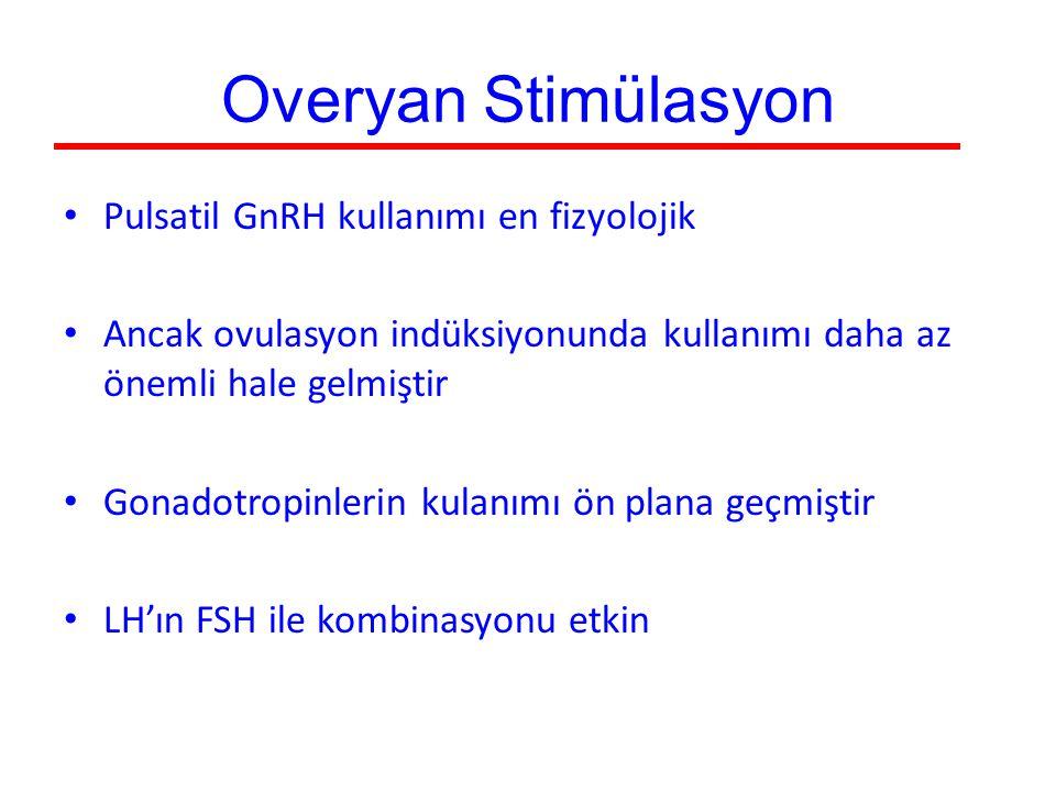 Overyan Stimülasyon Pulsatil GnRH kullanımı en fizyolojik Ancak ovulasyon indüksiyonunda kullanımı daha az önemli hale gelmiştir Gonadotropinlerin kul