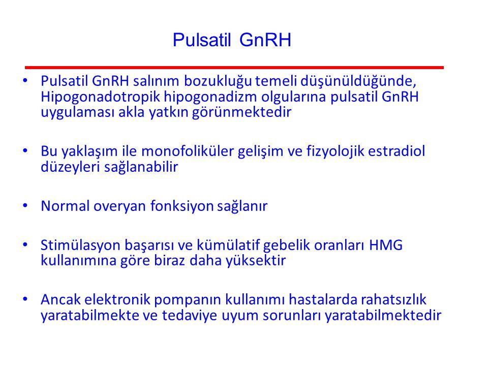 Pulsatil GnRH salınım bozukluğu temeli düşünüldüğünde, Hipogonadotropik hipogonadizm olgularına pulsatil GnRH uygulaması akla yatkın görünmektedir Bu